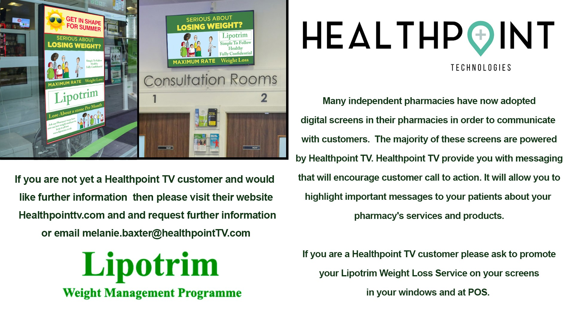 Healthpoint TV helps promote the Lipotrim Pharmacy weight management programme