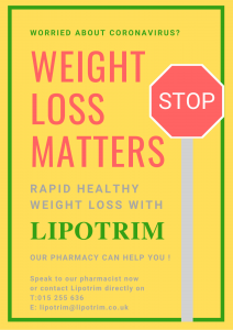 Lipotrim ROI pharmacy poster - Stop sign Weight loss matters