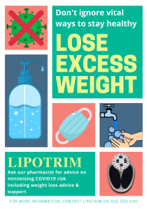 Vital ways to stay healthy during Covid19 - Lipotrim UK pharmacy poster